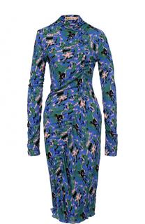 Приталенное платье-миди с драпировкой и принтом Marni