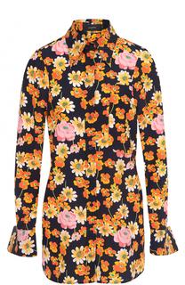 Приталенная хлопковая блуза с принтом Joseph
