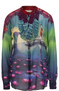 Шелковая блуза с принтом и оборками Mary Katrantzou