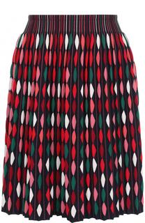 Плиссированная мини-юбка с принтом Alaia