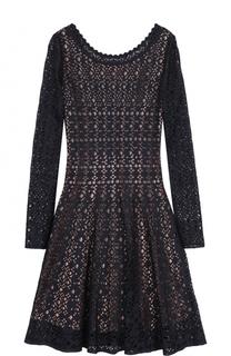 Кружевное мини-платье с длинным рукавом Alaia
