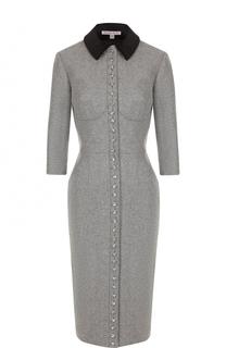 Приталенное шерстяное платье-рубашка с коротким рукавом Olympia Le-Tan