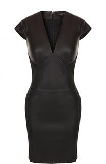 Приталенное кожаное мини-платье La Perla