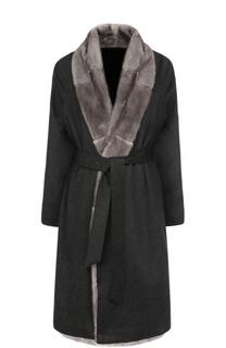 Кашемировое пальто с отделкой из меха норки и поясом Kiton