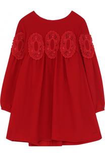 Мини-платье свободного кроя с кружевной отделкой Chloé