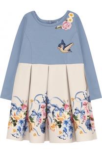 Комбинированное платье с принтом и защипами Monnalisa