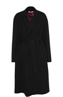 Однотонное шерстяное пальто с поясом Bally