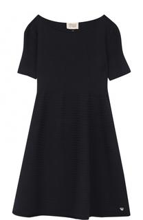 Платье джерси с фактурной отделкой Armani Junior