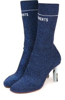 Текстильные ботильоны на контрастном каблуке Vetements