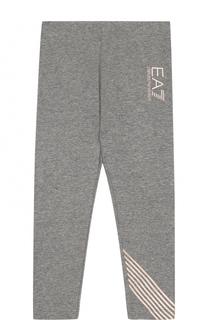 Хлопковые леггинсы с логотипом бренда Ea 7