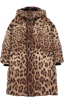 Пуховое пальто с принтом и капюшоном Dolce & Gabbana
