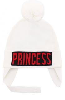 Шерстяная шапка с принтом и помпоном Dolce & Gabbana