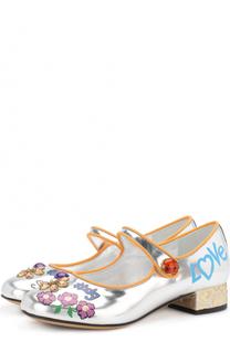 Кожаные туфли с принтом и кристаллами Dolce & Gabbana
