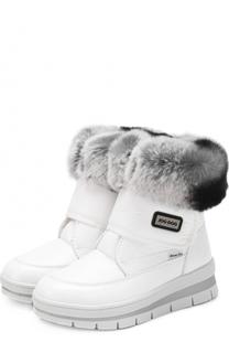 Текстильные ботинки с меховой отделкой и застежками велькро Jog Dog