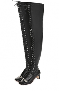 Кожаные ботфорты на шнуровке Sergio Rossi