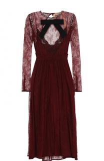 Кружевное платье-миди с открытой спиной No. 21