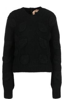 Пуловер фактурной вязки с круглым вырезом No. 21