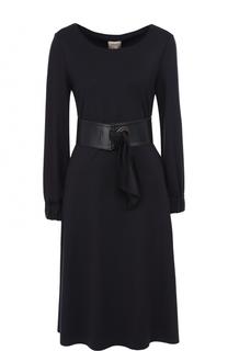 Приталенное платье-миди с широким поясом Armani Collezioni
