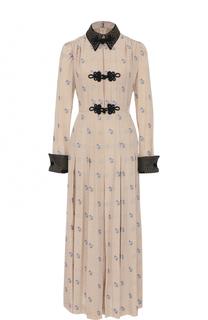 Приталенное шелковое платье-рубашка Alessandra Rich
