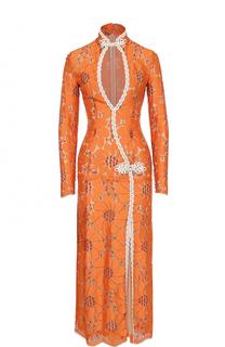 Приталенное кружевное платье с высоким разрезом Alessandra Rich