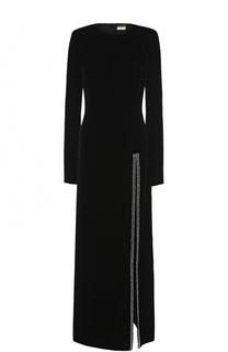 Бархатное платье-макси с высоким разрезом Saint Laurent