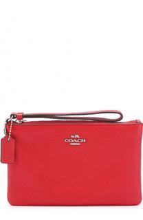 Кожаный кошелек на молнии с логотипом бренда Coach