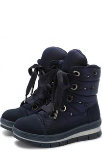 Текстильные ботинки с замшевой отделкой и кристаллами Jog Dog