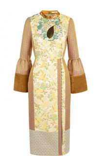 Платье-миди с завышенной талией и воротником-стойкой Erdem