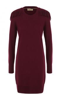 Мини-платье из смеси шерсти и кашемира с бахромой Burberry