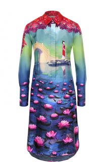 Шелковое платье-рубашка с удлиненной спинкой и принтом Mary Katrantzou