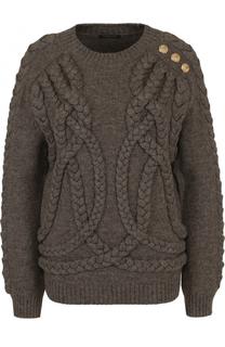 Шерстяной пуловер фактурной вязки с круглым вырезом Balmain