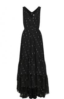 Приталенное шелковое платье-макси BOSS