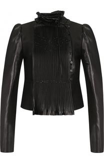 Укороченная кожаная куртка с воротником-стойкой Valentino