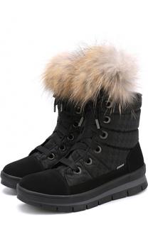 Комбинированные утепленные ботинки на шнуровке Jog Dog