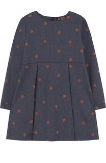 Шерстяное платье с защипами и вышивками Loro Piana
