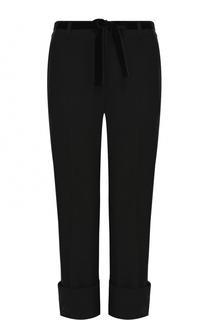Шерстяные однотонные брюки с отворотами Ann Demeulemeester
