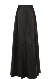 Однотонная кожаная юбка-макси Ann Demeulemeester