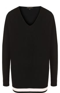 Удлиненный пуловер из смеси шерсти и кашемира с V-образным вырезом Escada