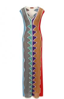 Вязаное платье-макси с принтом и V-образным вырезом Missoni