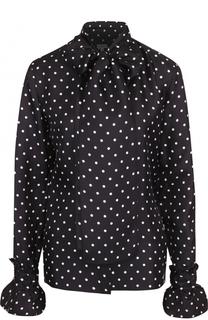 Шелковая блуза в горох с воротником аскот Loewe