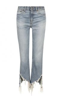 Укороченные расклешенные брюки с потертостями R13