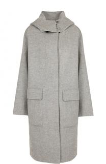 Пальто из смеси шерсти и кашемира с капюшоном Theory