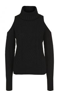 Шерстяной свитер фактурной вязки с открытыми плечами Theory