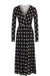 Шелковое платье-миди с запахом и принтом Diane Von Furstenberg