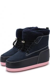 Комбинированные утепленные ботинки на шнуровке Kenzo
