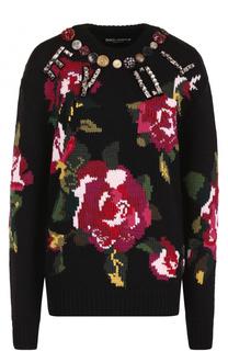 Шерстяной пуловер с круглым вырезом и принтом Dolce & Gabbana