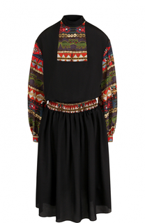 Приталенное платье-миди с длинным рукавом Stella Jean