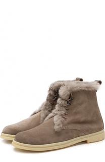 Замшевые ботинки с внутренней отделкой из меха нутрии Loro Piana