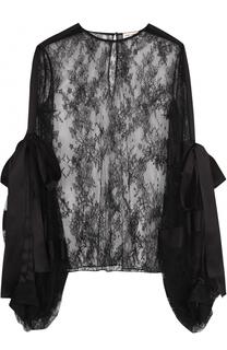 Кружевная блуза с бантами и круглым вырезом Saint Laurent