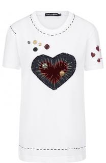 Хлопковая футболка с круглым вырезом и контрастной отделкой Dolce & Gabbana